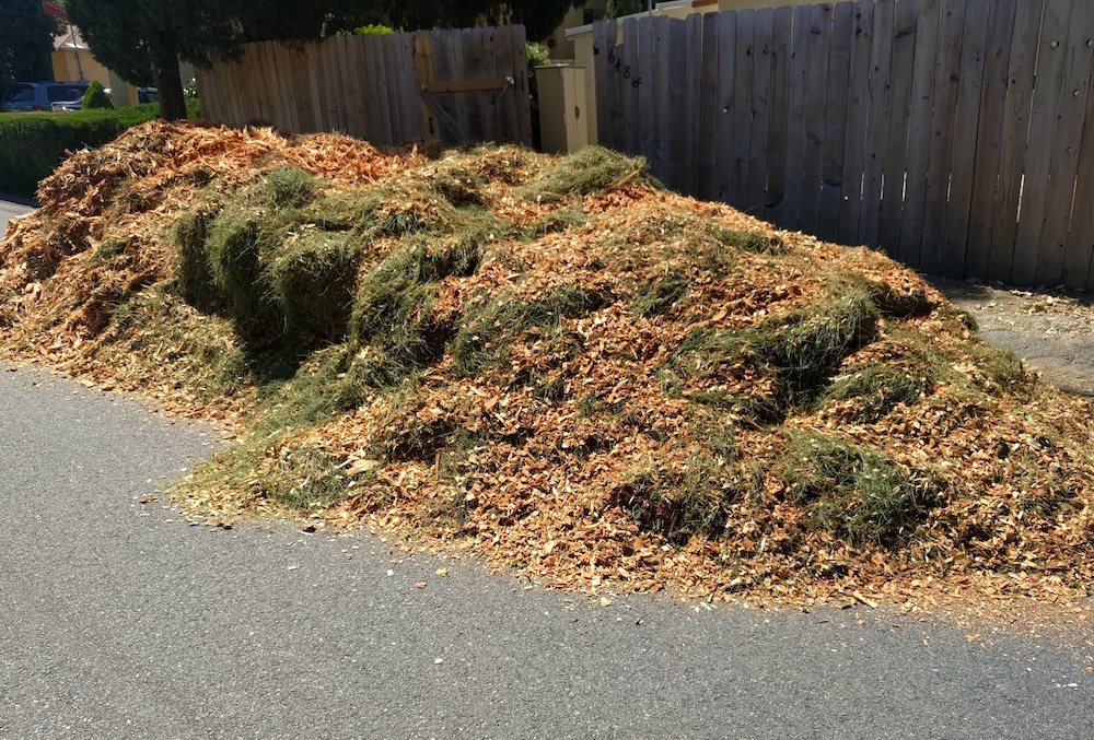 Wood chips on the side of the road